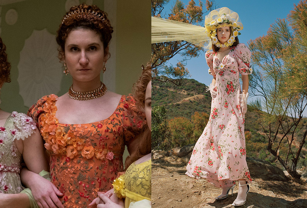 Prudence Featherington's orange ball gown