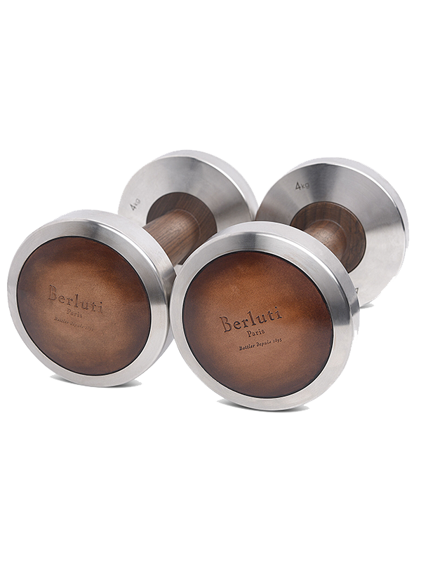 Berluti 4kg leather and wood dumbbells
